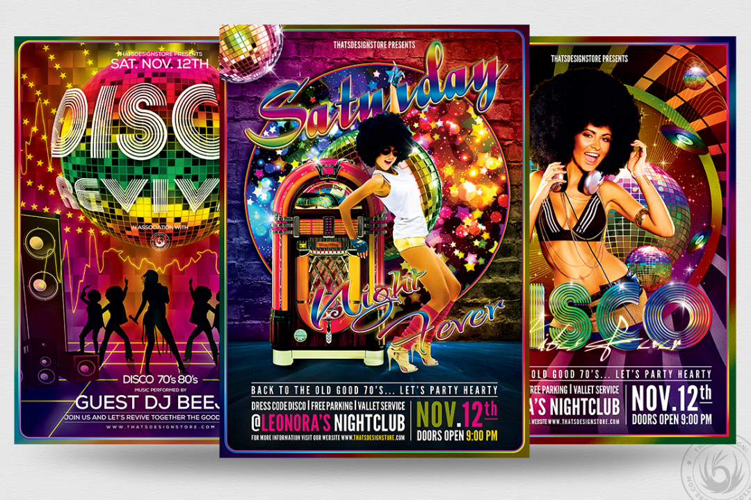 Disco Flyer Templates psd for Photoshop, any Remember, Disco, 70's, 80's, 90's or Revival Special party. These Customizable psd flyer templates, are also suitable for a Fluo night or even a flashback Dj set.