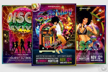 Disco Flyer Templates psd for Photoshop, Remember, 70's, 80's, 90's or Revival Special party.