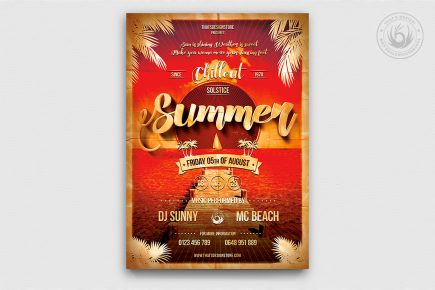 Summer Flyer Templates for any beach party,festival, club or cocktails bar event. Pool or garden party with Dj set mixing chillout, lounge music for a tropical sunset, summer camp holidays