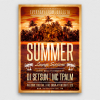 Summer Lounge PSD Flyer Template V2 for any beach party in a club, bar, Pool or garden party with Dj set mixing chillout music for sunset.