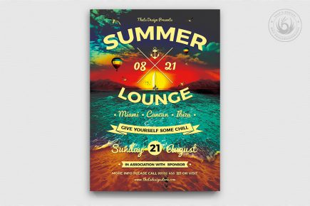 Summer Lounge Flyer Template V3 for any beach party,festival, club or cocktails bar event. Pool or garden party with Dj set mixing chillout, tropical sunset, camp holidays