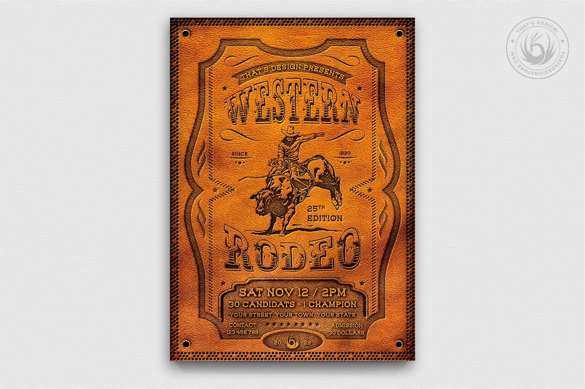 Western Rodeo Flyer Template, Wanted flyers farwest Western music template, rodeo bike cowboy in a coyote bar