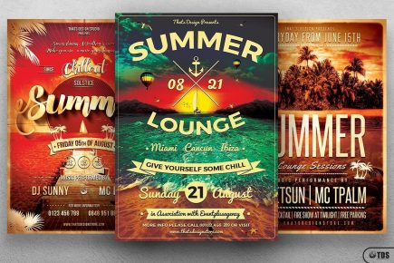 Summer Flyer Psd Template Bundle for any beach party,festival, club or cocktails bar event. Pool or garden party with Dj set mixing chillout, lounge music for a tropical sunset, summer camp holidays