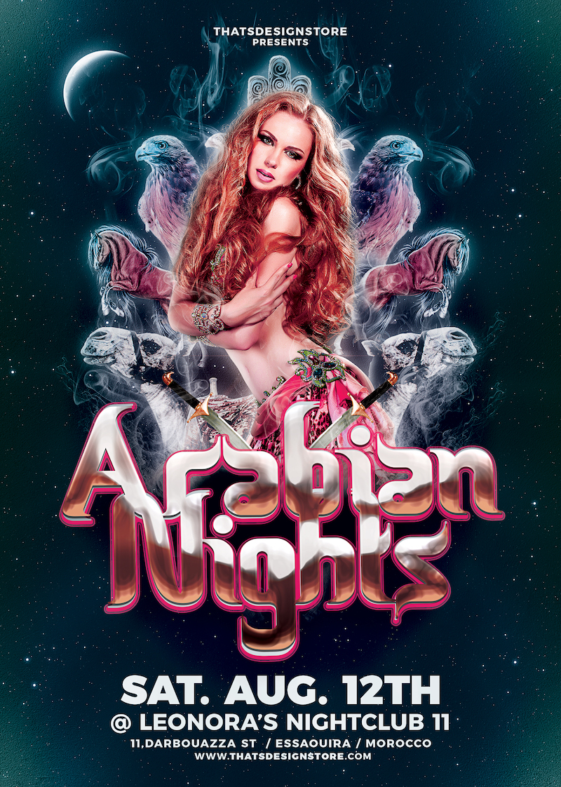 Arabian Nights Flyer Template for any Oriental party, Belly Dance show or courses, Shisha, Arabian Nights or Ramadan Event.