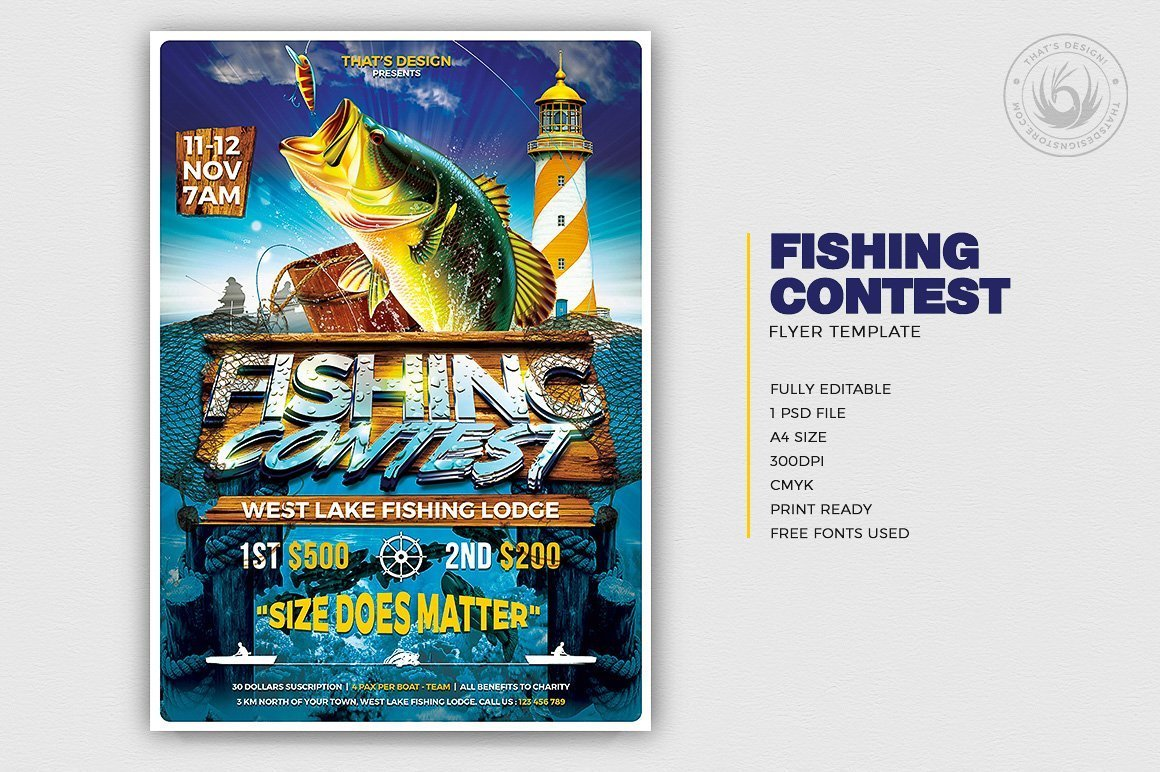 Fishing Contest Flyer Template psd for Tournament