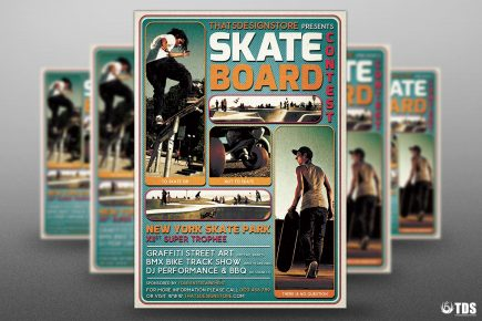Skating Competition Flyer Template psd design download