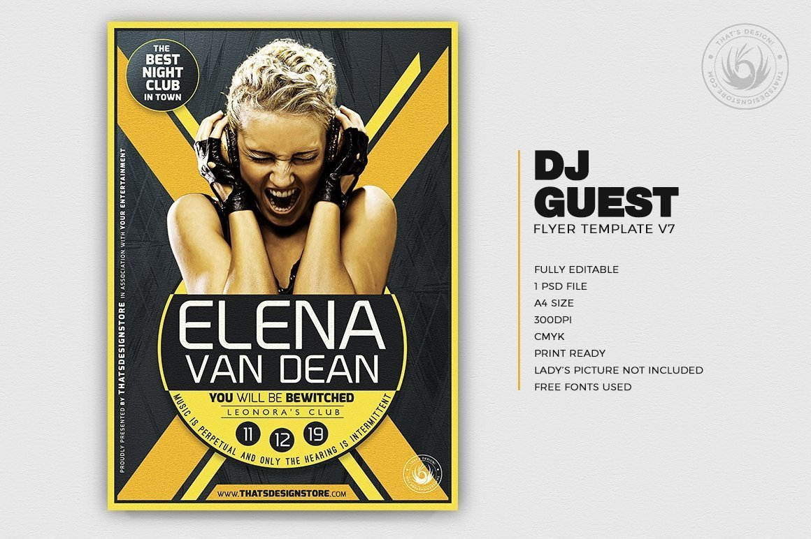 DJ Guest Flyer Template PSD Download to customize V7, Club flyers party poster