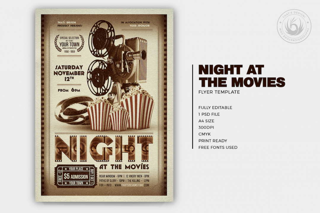 Night at the Movies Flyer Template