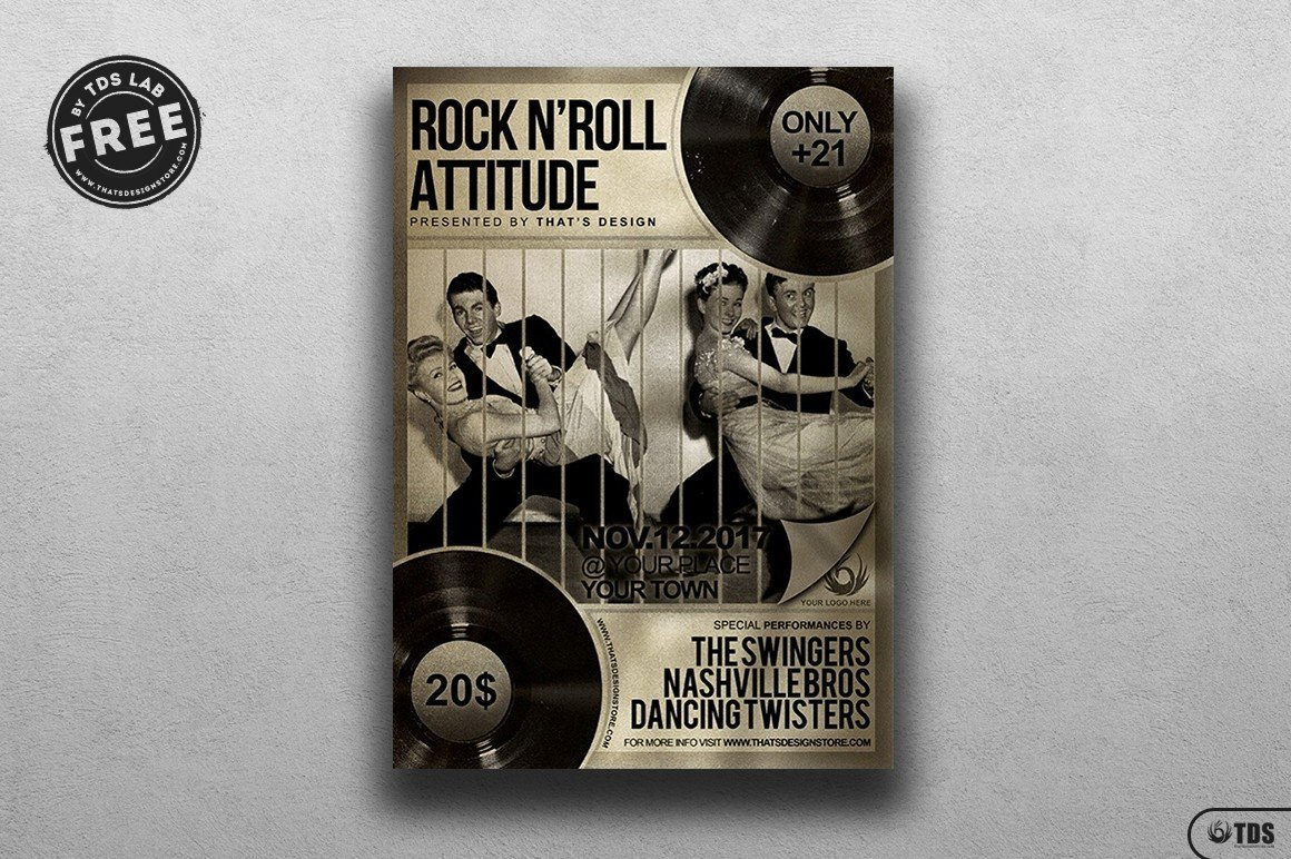 Freebies- Rock music Free printable Flyer Templates for festival event, Download live band posters psd design now