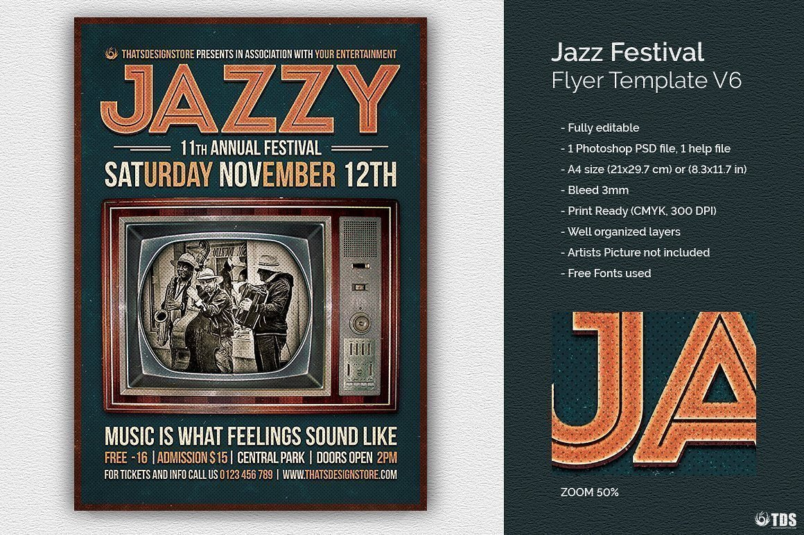 Jazz Posters Flyers psd Template for festival