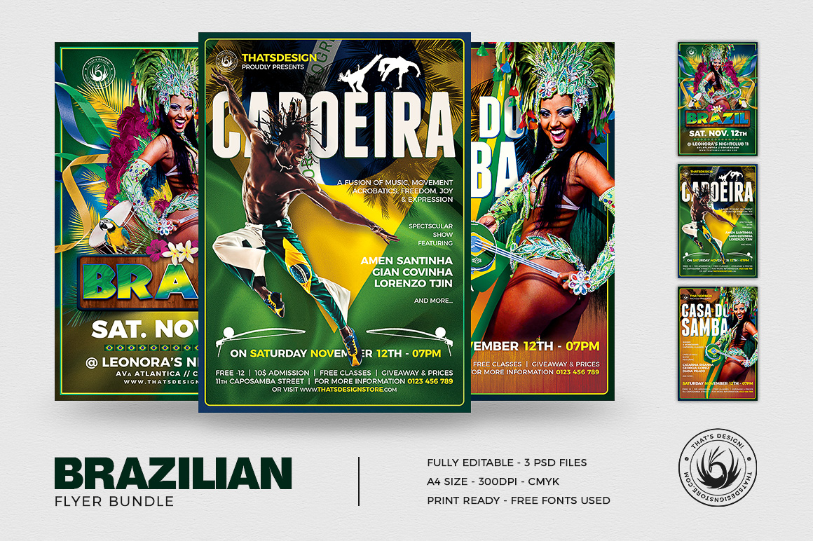 Brazilian Flyer Psd templates to download for photoshop