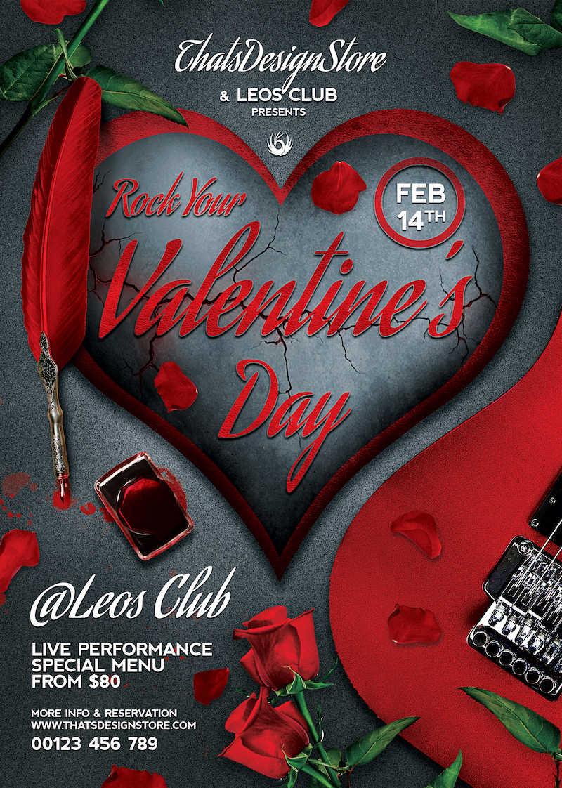 Rock your Valentine flyer template love Psd download to customize with photoshop