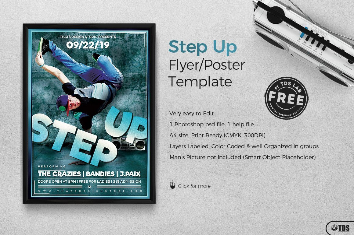 Step up Hip Hop Free Psd Flyer | Free posters design for photoshop