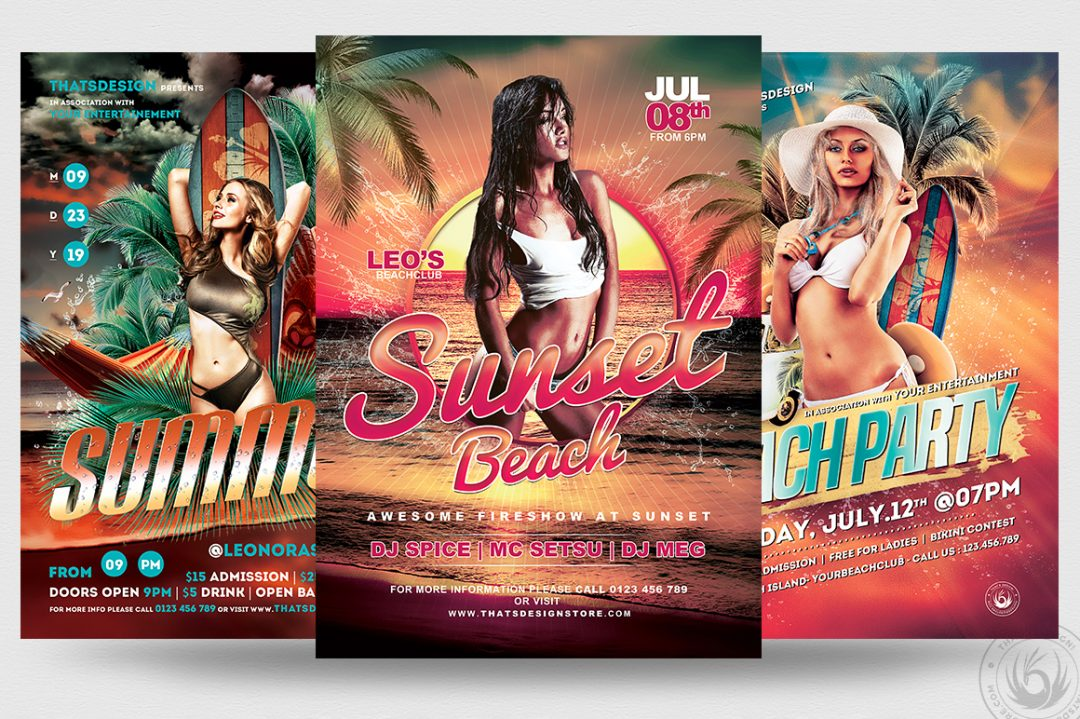 Beach Party Flyers Psd Templates for festival, club or cocktails bar event. Dj set mixing chillout, lounge music for a tropical sunset, summer camp holidays