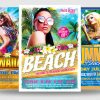 Beach Party Flyer Templates for Photoshop for any beach party,festival, club or cocktails bar event. Pool or garden party with Dj set mixing chillout, lounge music for a tropical sunset, summer camp holidays