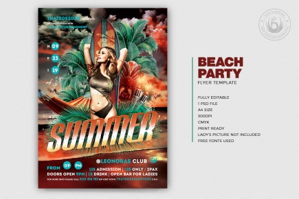 Beach Party Invitations Flyer PSD Template V3 , club or cocktails bar event, Pool or garden, Dj set mixing chillout, lounge music, tropical sunset, summer camp holidays