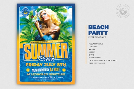 Beach Flyer Templates V6 for any beach party,festival, club or cocktails bar event. Pool or garden party with Dj set mixing chillout, lounge music for a tropical sunset, summer camp holidays