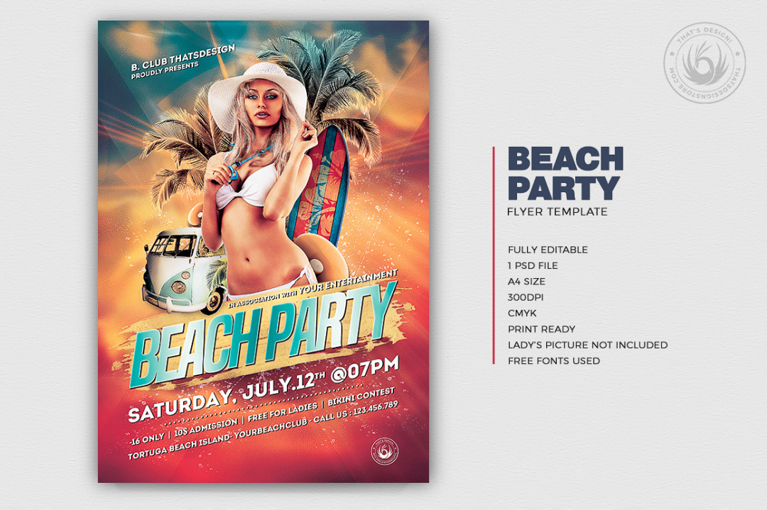 Summer Party Flyers Template Psdv Design for any beach party,festival, club or cocktails bar event. Pool or garden party with Dj set mixing chillout, lounge music for a tropical sunset, summer camp holidays