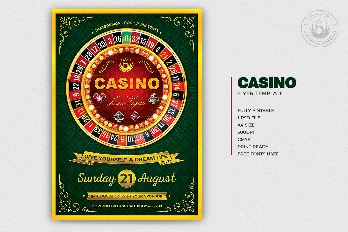 Casino Flyer Template PSD for photoshop V2, Poker night like black jack, cards, or vegas party.