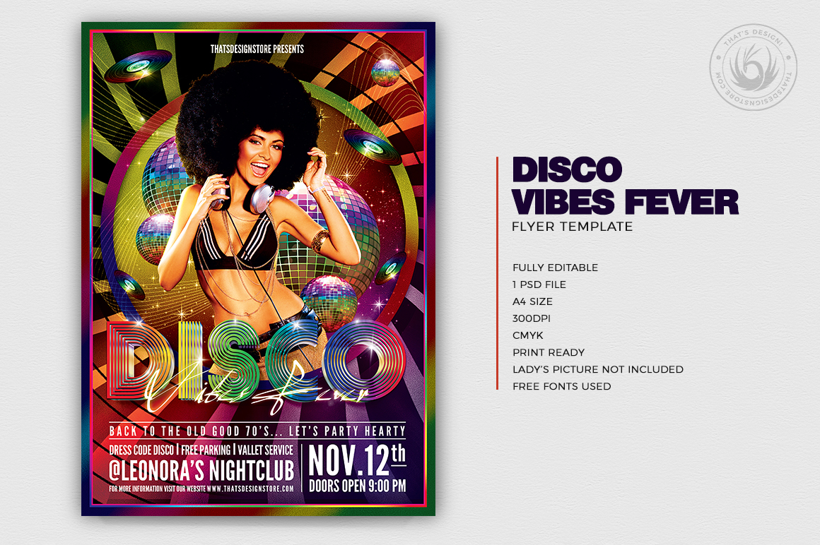 Disco Vibes Fever Flyer Template PSD Download