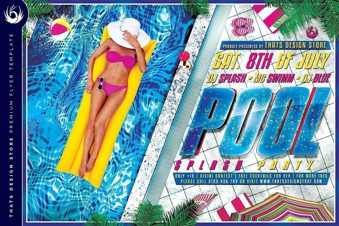 Pool Party Flyer Template Club Flyers Posters Design