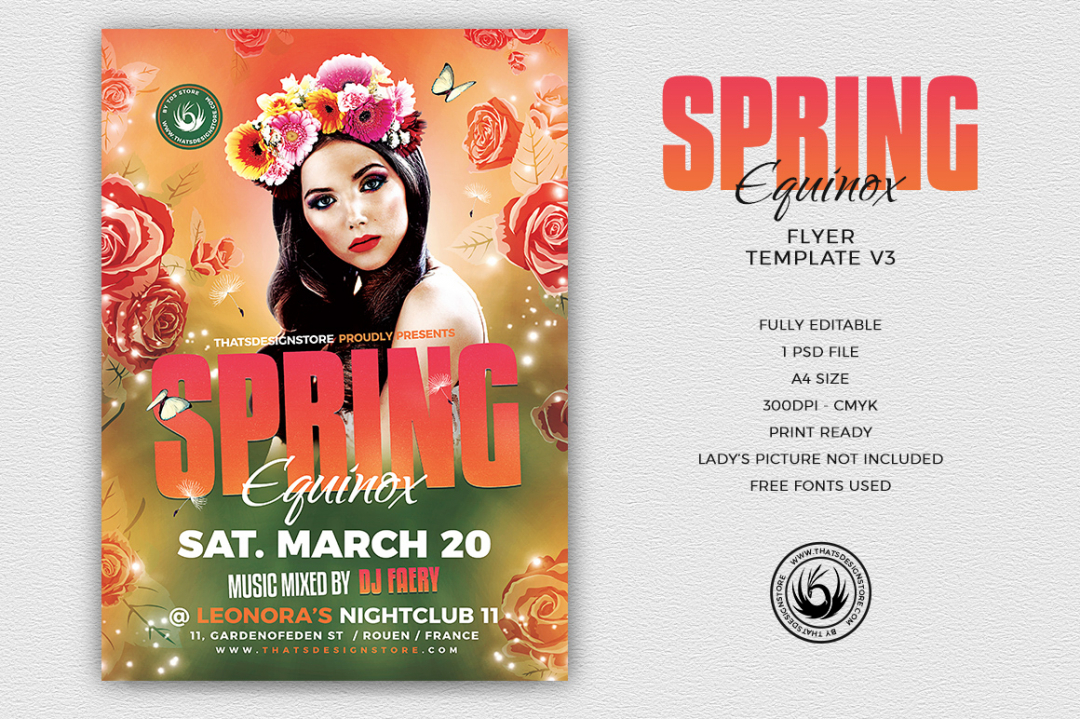 Spring Equinox Flyer Template psd download V3