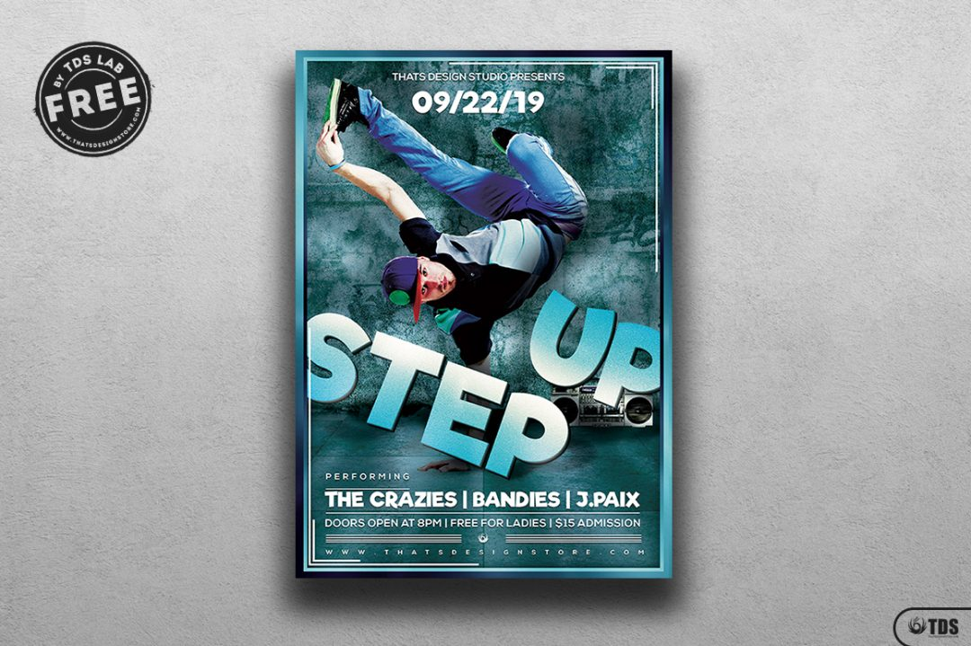 Step up Hip Hop Psd Flyer Template, Download live band freebies for free