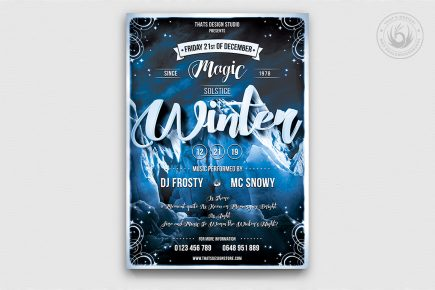 Winter Season Flyer Template Psd download, solstice, Ice party, skiing competition or mountain sports event, Snow Ice party