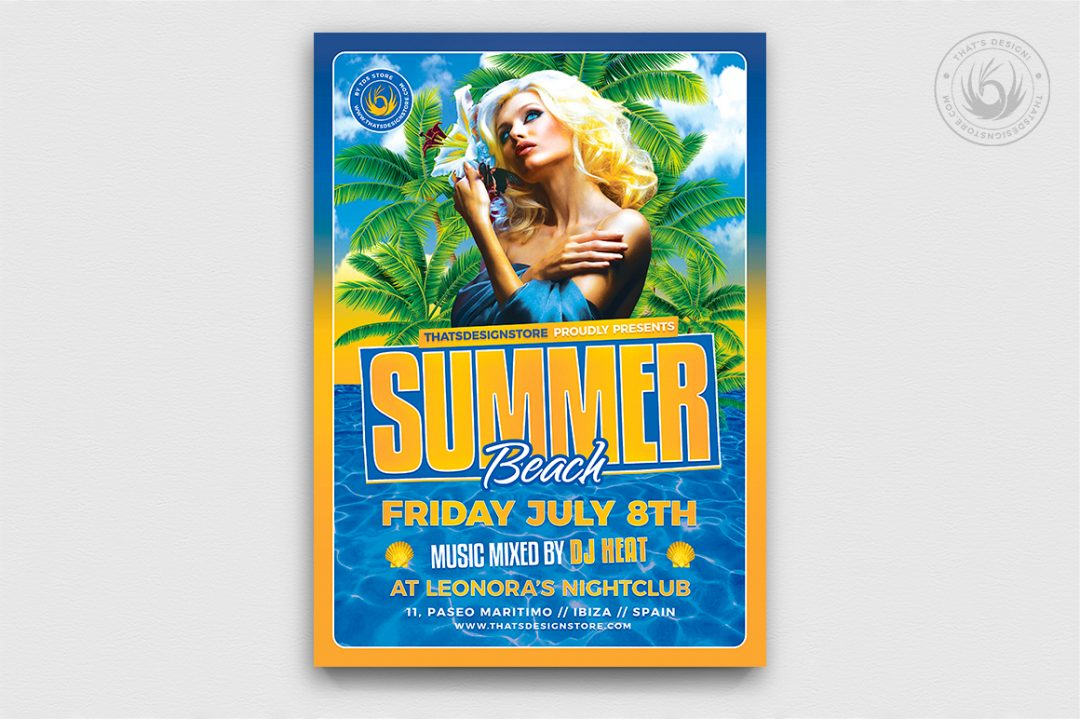 Beach Party Invitations Flyer PSD Template, club or cocktails bar event, Pool or garden, Dj set mixing chillout, lounge music, tropical sunset, summer camp holidays