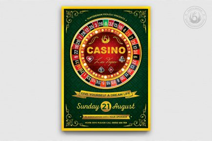 Casino Flyer Template PSD for photoshop V2 Poker night like black jack, cards, or vegas party.