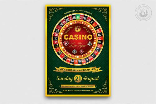 Casino Flyer Template PSD for photoshop V2 Poker night like black jack, cards, or vegas party.