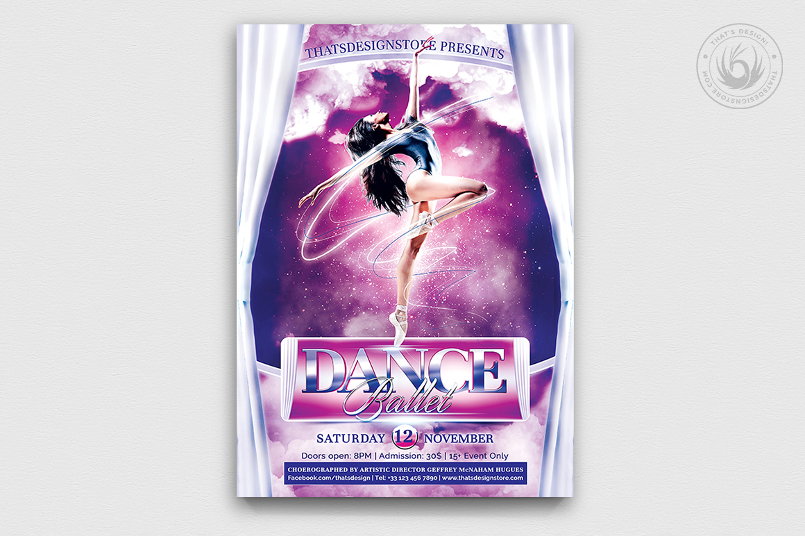 Dance Ballet Flyer Template PSD download V1