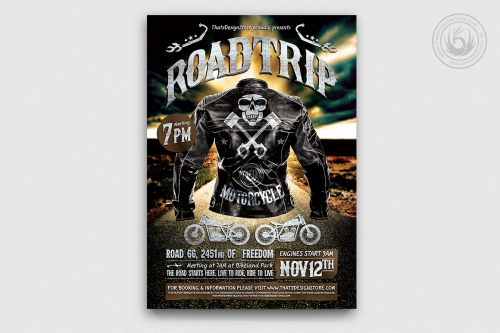 Bike night Motorcycle Road Trip Flyer Template