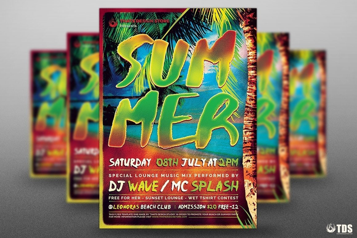 Summertime Flyer Template for any beach party,festival, club or cocktails bar event. Pool or garden party with Dj set mixing chillout, lounge music for a tropical sunset, summer camp holidays