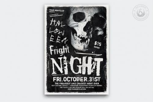 Halloween Flyer Template psd download design V12