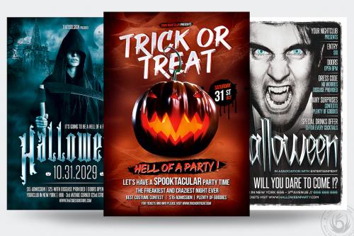 Halloween Flyer Psd templates design Bundle V3