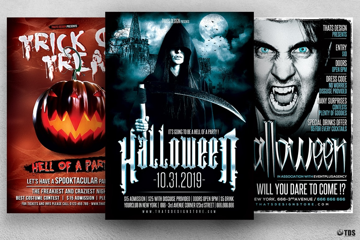 Halloween Flyer Psd templates design Bundle V3
