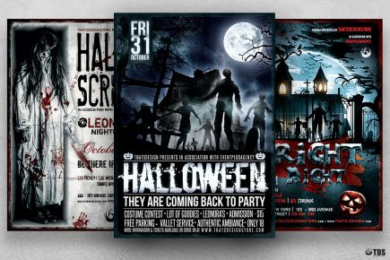 Halloween Flyer templates psd design Bundle V6