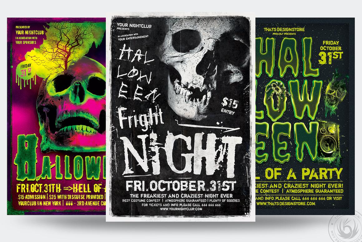 Halloween Flyer templates psd design Bundle V6