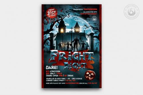 Halloween Flyer Template psd download design V17