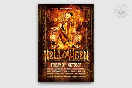 Halloween Flyer Template psd design V3
