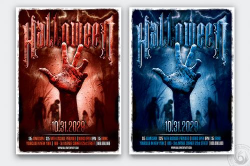 Halloween Flyer Template psd download design V9