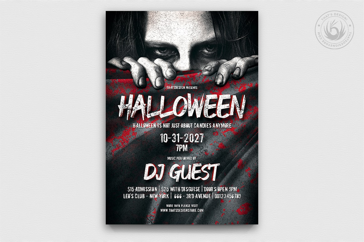 Halloween Flyer Template psd download design V.5
