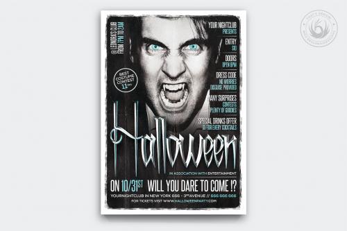 Halloween Flyer Template psd download design V7