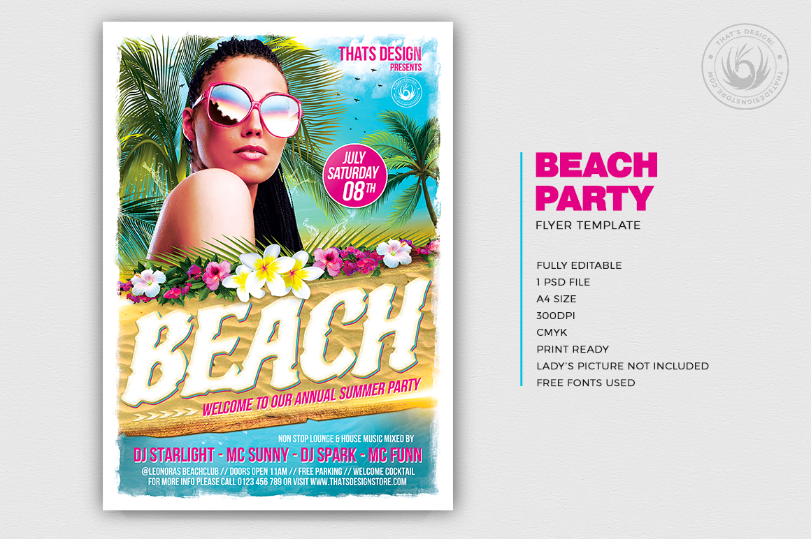 Beach Flyers Template Design V4 for any beach party,festival, club or cocktails bar event. Pool or garden party with Dj set mixing chillout, lounge music for a tropical sunset, summer camp holidays