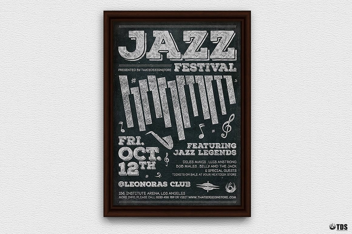 Jazz Posters Flyers psd Template for jazzy blues live Band Concert or festival