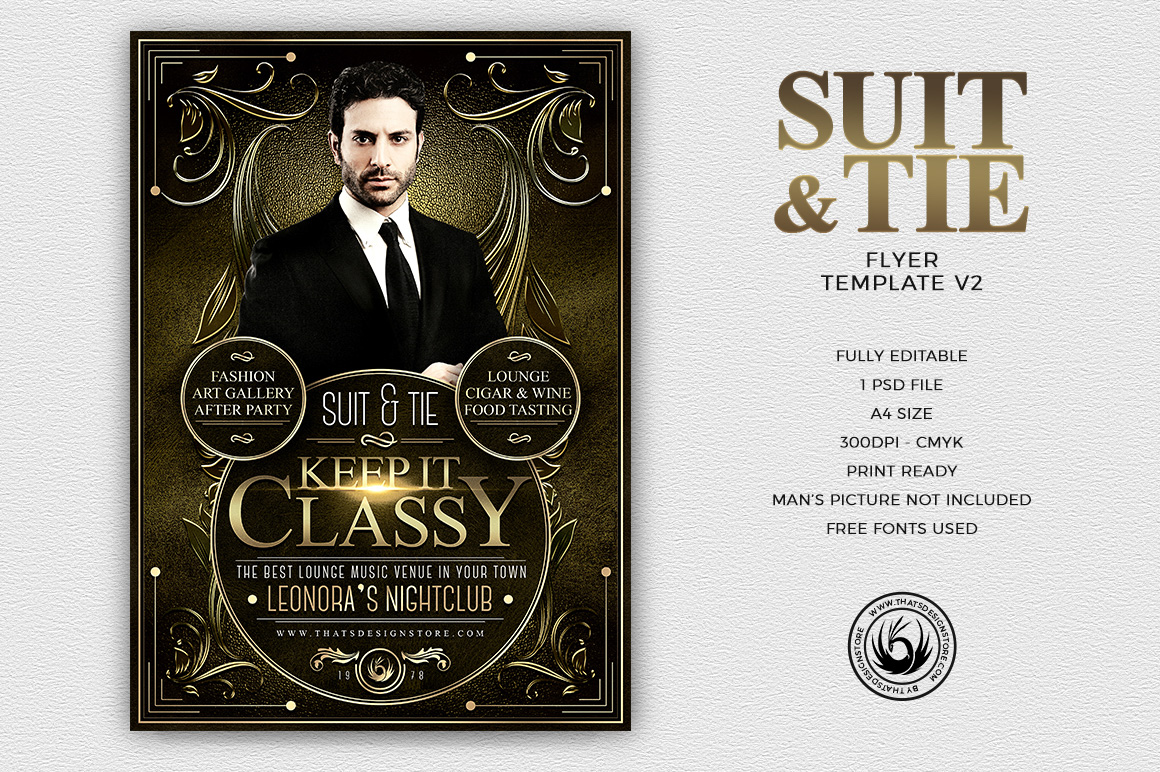 Suit and Tie Flyer Template Psd download V2, Men's afterwork, Cigare lounge, art gallery, food wine tasting