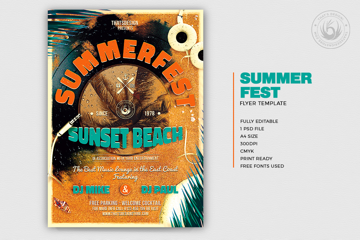 Summer Fest Flyer Poster Template for any beach party,festival, club or cocktails bar event. Pool or garden party with Dj set mixing chillout, lounge music for a tropical sunset, summer camp holidays