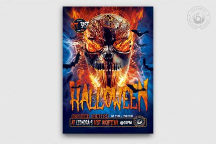 Halloween party psd flyer template download design V15