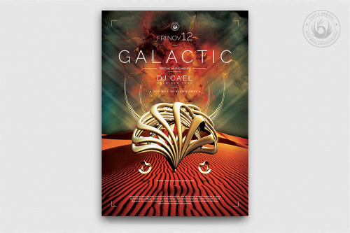 Electro Flyer Templates Design PSD For Photoshop, Galactic Sound club poster Template PSD Download